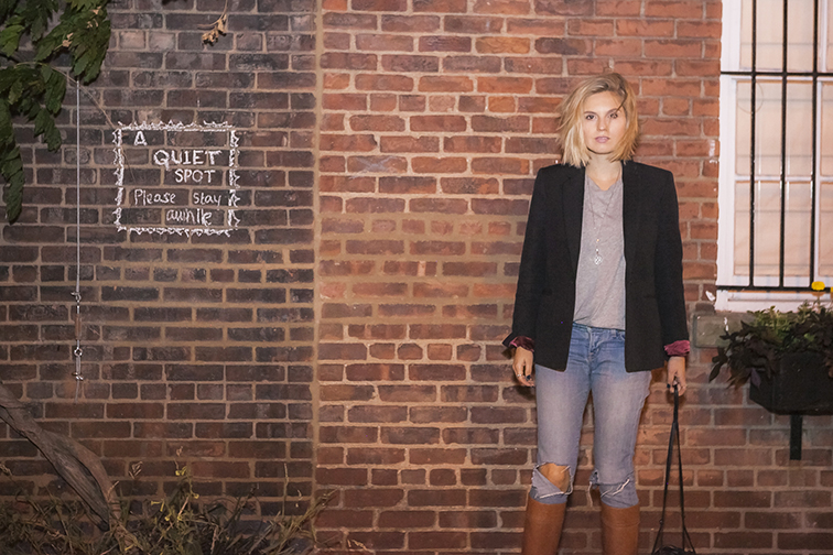 fashion over reason, Washington Mews, New York City, JCrew blazer, Everlane tee, J Brand jeans