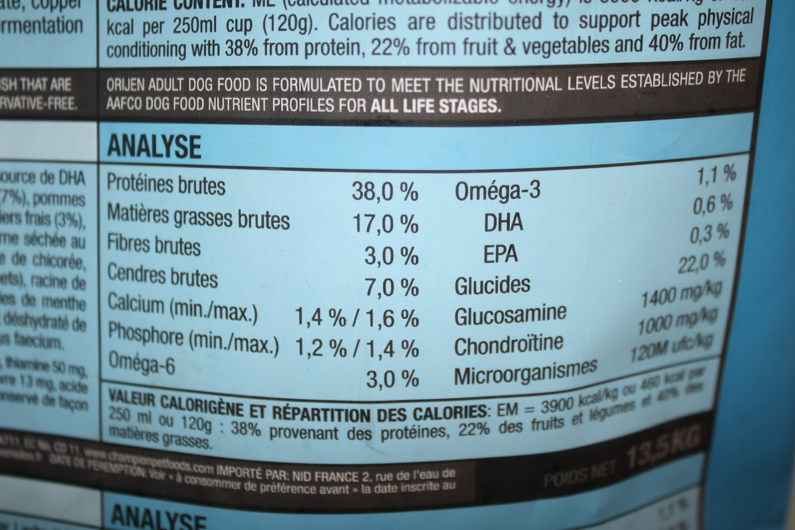 Orijen Dog Food Nutritional Info