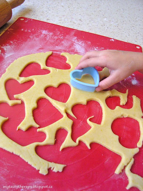 cutting out butter cookies