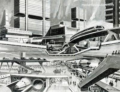 Dibujo de una ciudad del futuro