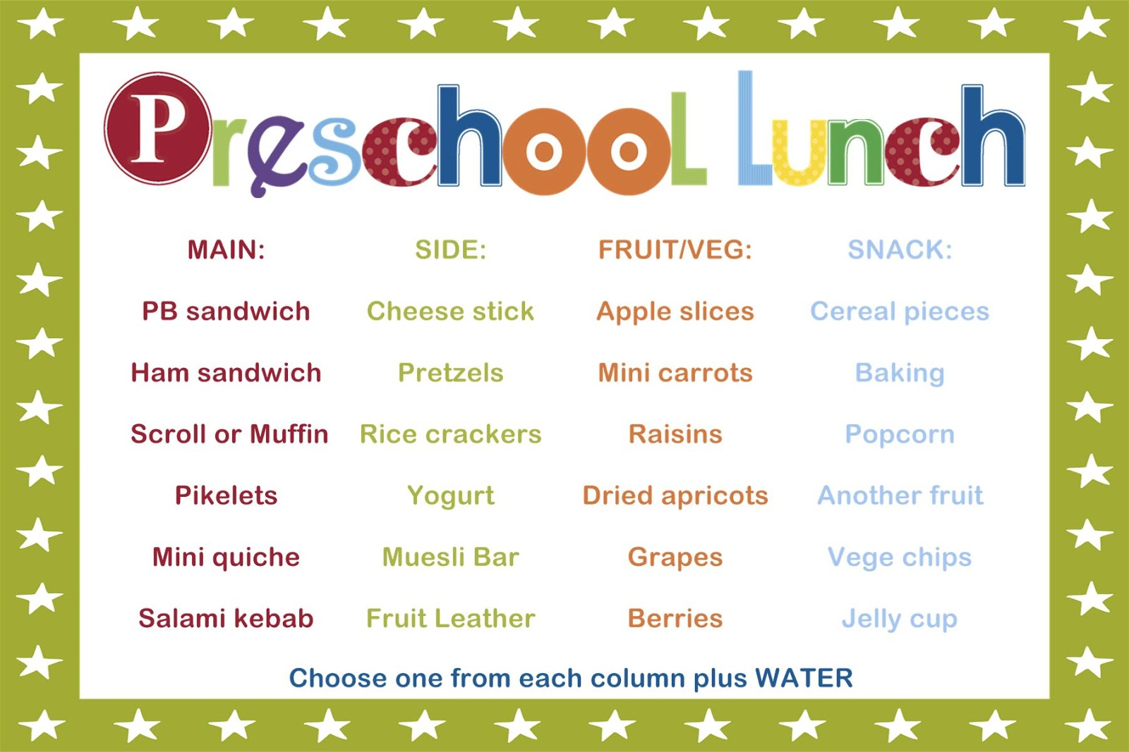 lunch menu for preschoolers sahm i am stay at home taking the guesswork out of 580