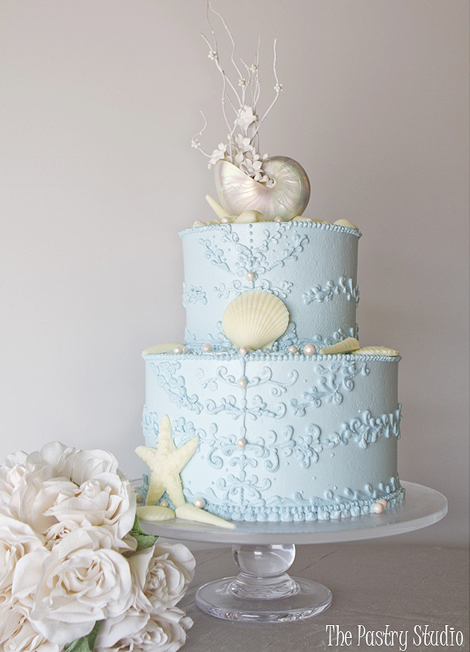Blue Wedding Cake with Nautilus Shell - The Pastry Studio