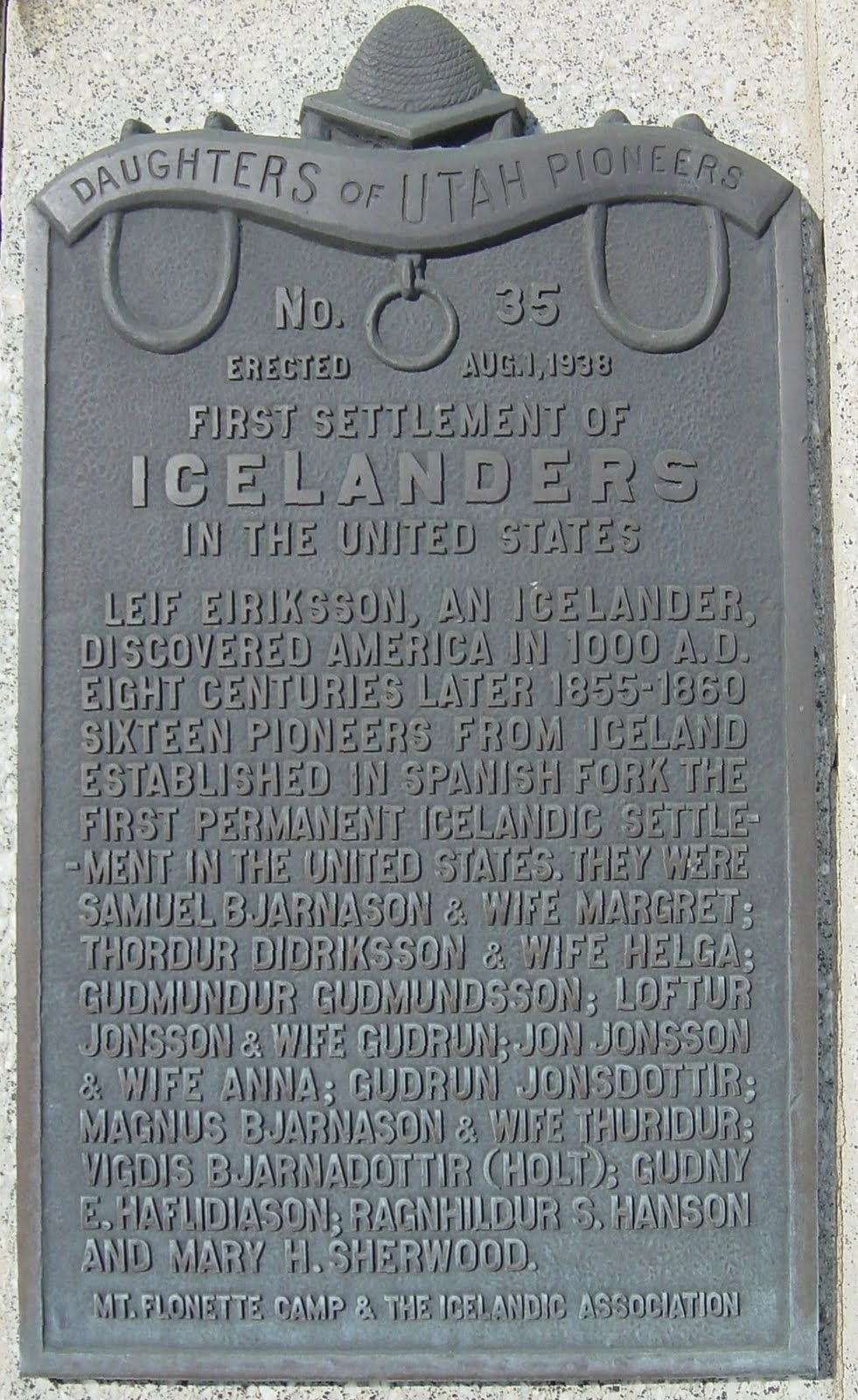 Image result for picture of plaque on the first icelandic monument in spanish fork ut