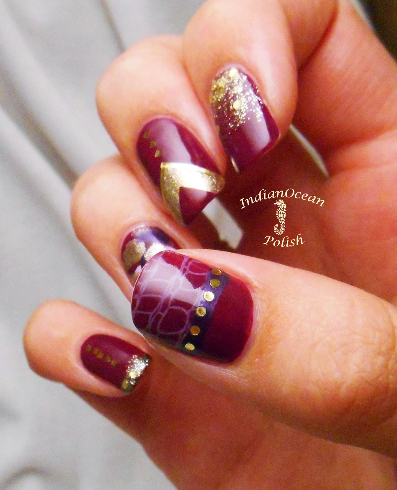 indian ocean polish purple and gold skittles nail art