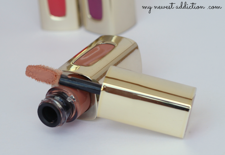 L'Oreal lipstick lipgloss color riche extraordinaire liquid swatch review Nude Ballet