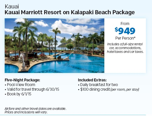 Kauai Hawaii Marriott Resort On Kalapaki Beach Package