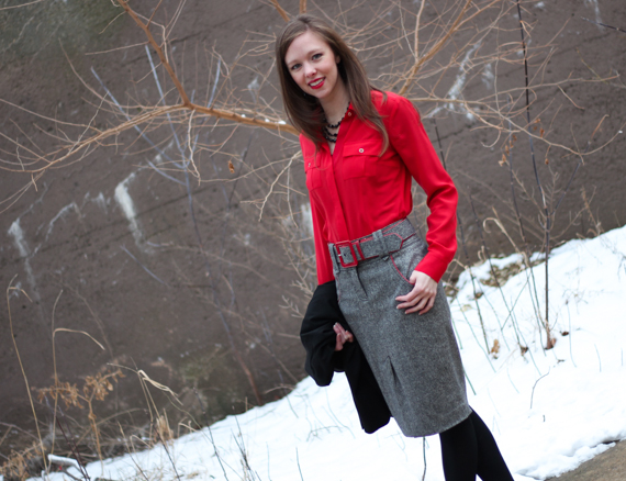 Red Blouse Tweed Pencil Skirt | StyleSidebar