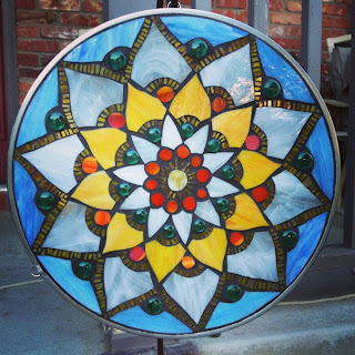 Lotus Mosaic Mandala in Blue, White, Yellow & Green