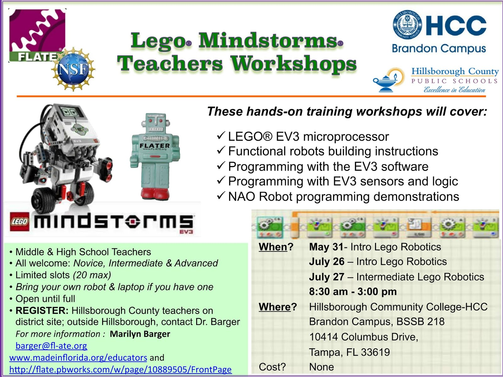 Lego Mindstorms Workshops for Teachers this Summer