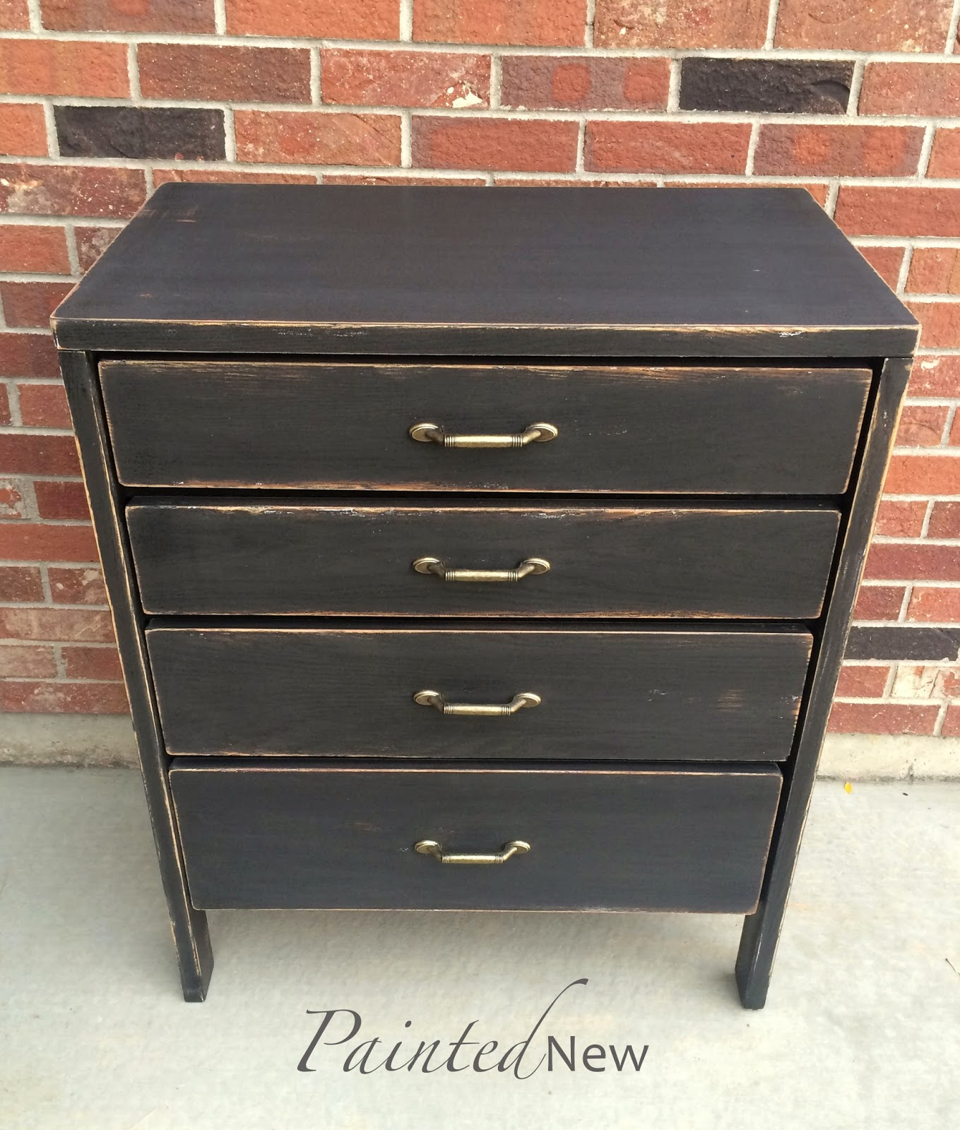 Benjamin Moore Onyx, distressed