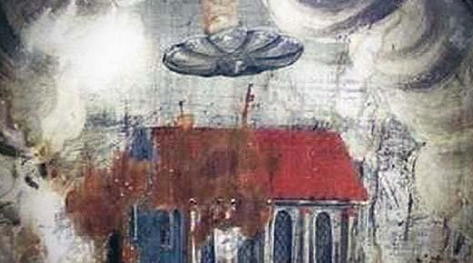 Nueva pintura del siglo 16 representando un OVNI descubierta en la iglesia