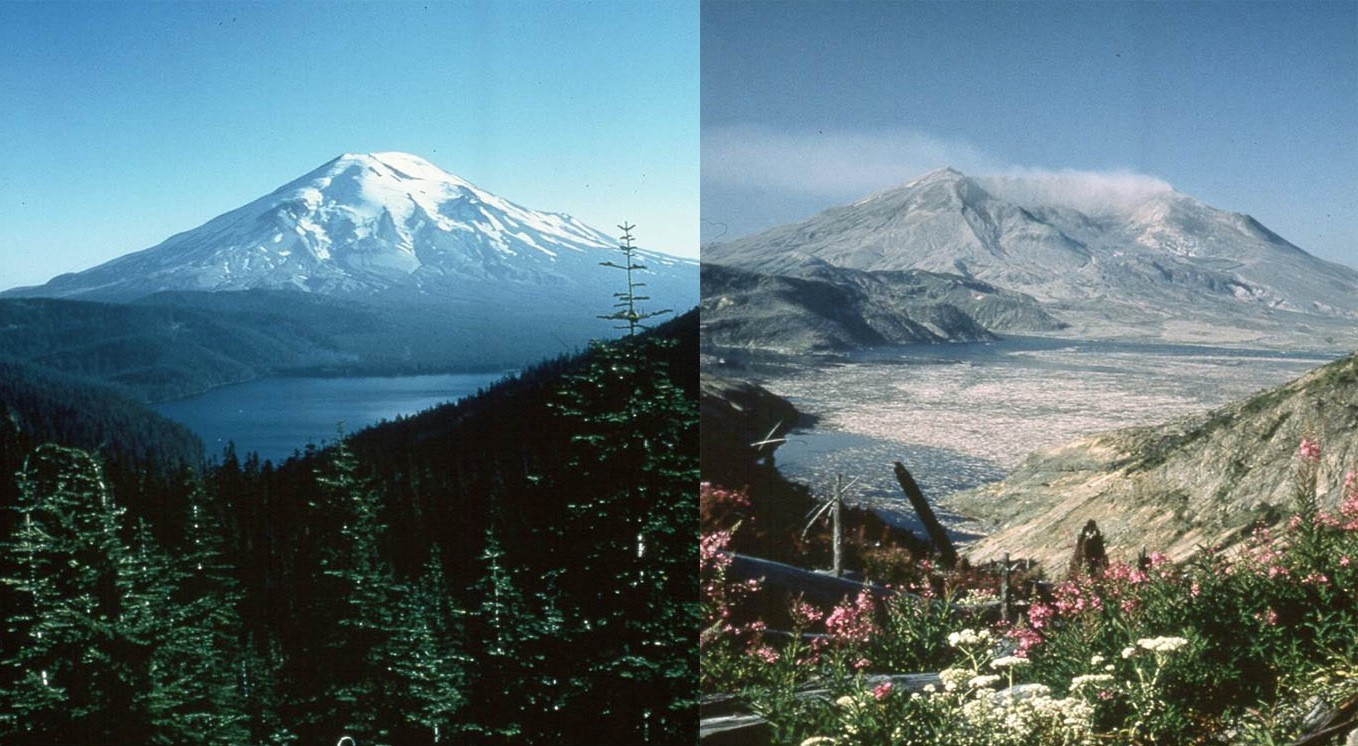 Mt. St. Helens Comparison, Before and After the 1980 Eruption