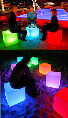 LED CUBE Furniture Chair Table Glows and is illuminated for VIP
