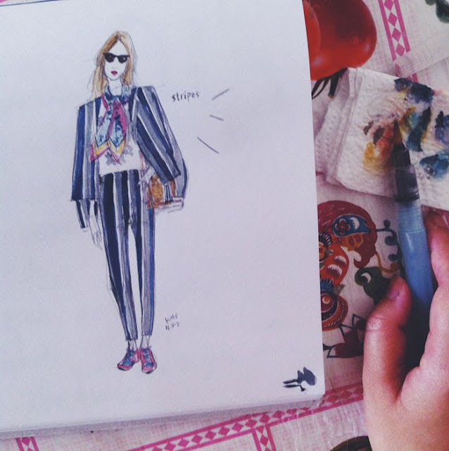 Kitty N. Wong / fashion illustration girl in stripe suit streetstyle sketch