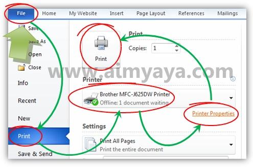 Gambar: Memilih dan mengatur setting printer (printer properties) sebelum mencetak dokumen microsoft word 2010
