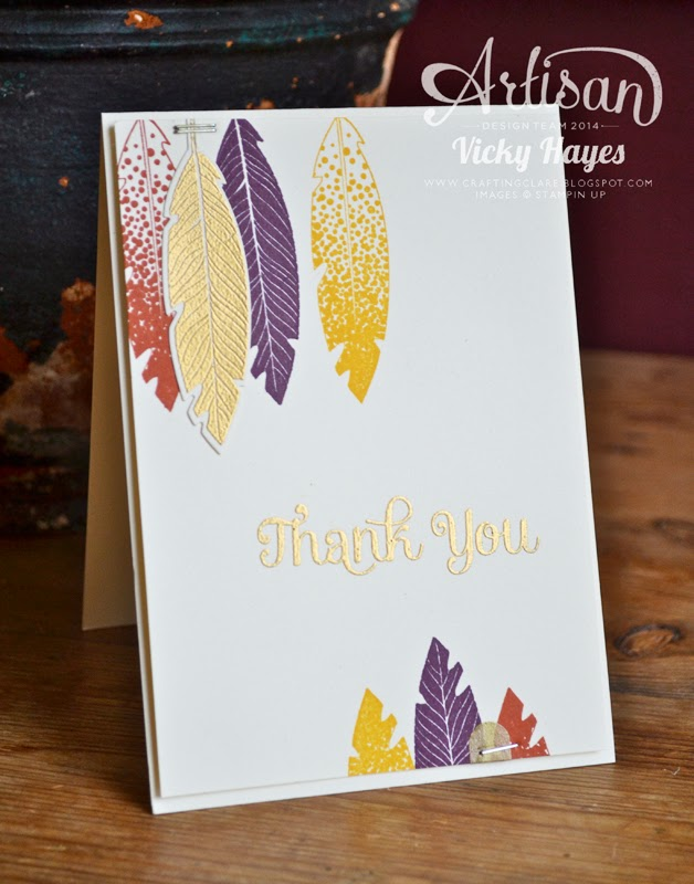Handmade card made with Four Feathers by Stampin' Up