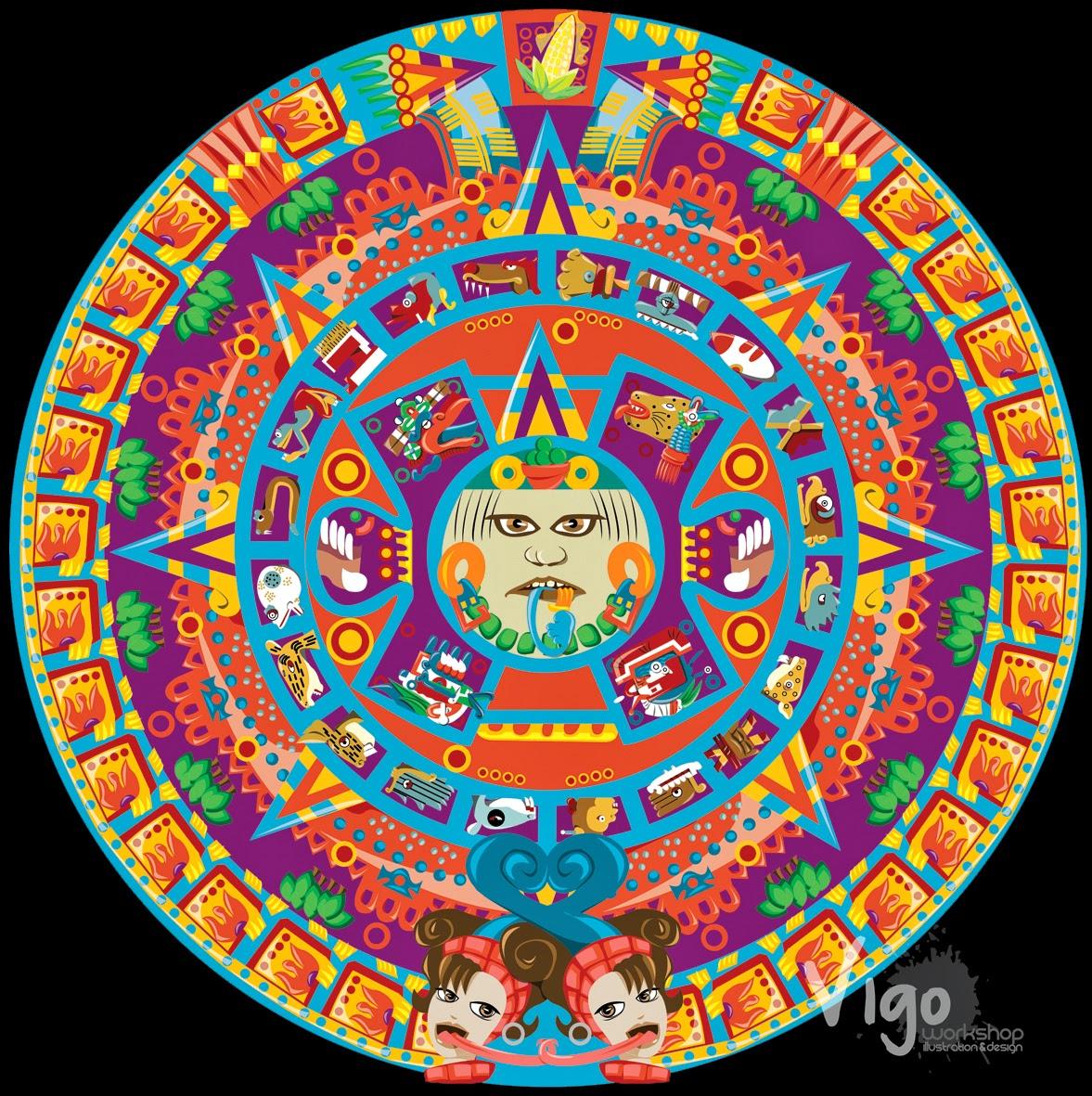 Aztec Calendar Illustration : Vigo artwork digital illustration