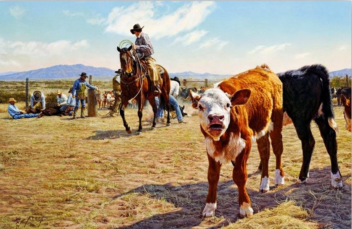 Cuadros modernos pinturas y dibujos cuadros al leo de - Cuadros de vacas ...