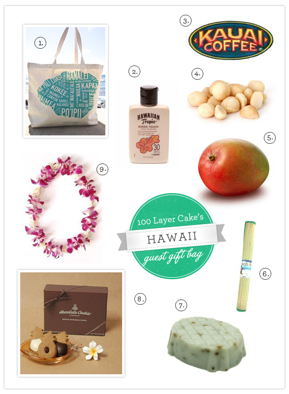 Hawaii Destination Wedding Welcome Bag Ideas : 100 layer cake put together this bag for a hawaii destination wedding.