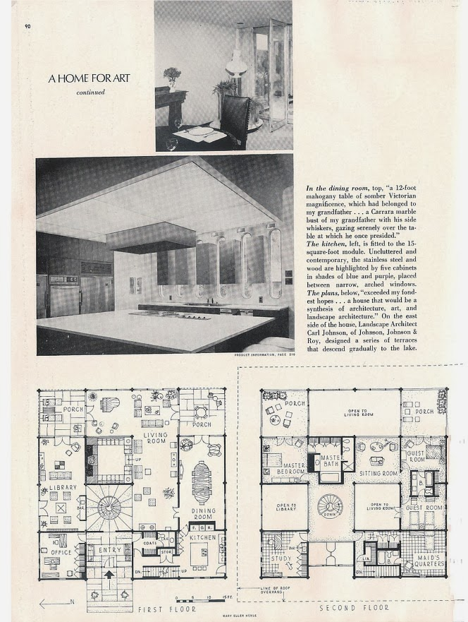 Floor plan of the Hawkins Ferry House in Grosse Pointe Shores, MI. (From the Sept 1969 issue of House Beautiful).