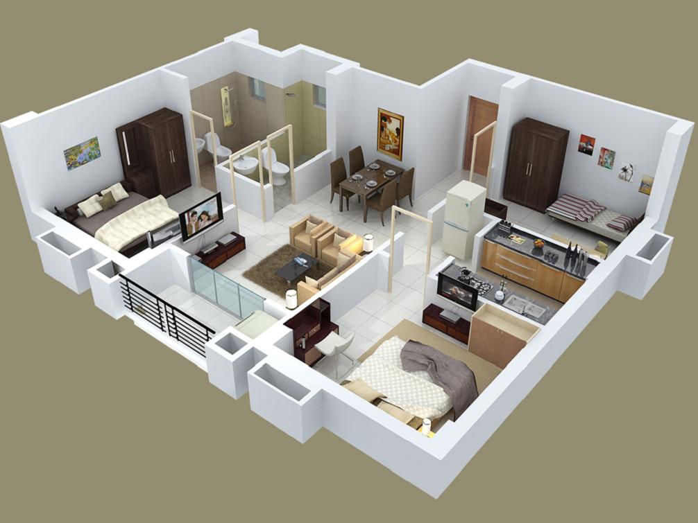 desain rumah dengan tiga kamar tidur desain kamar modern