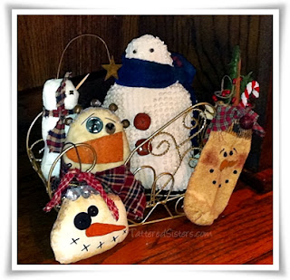 Primitive Snowmen Sleigh Ride