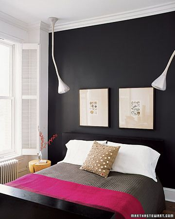 A black painted wall in the bedroom makes it cozy and cave like. Let me go  around my house and see where I can get one wall painted in black.