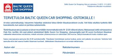 Baltic Queen Car Shopping Lista maaliskuu 2015, Tallinna tutuksi