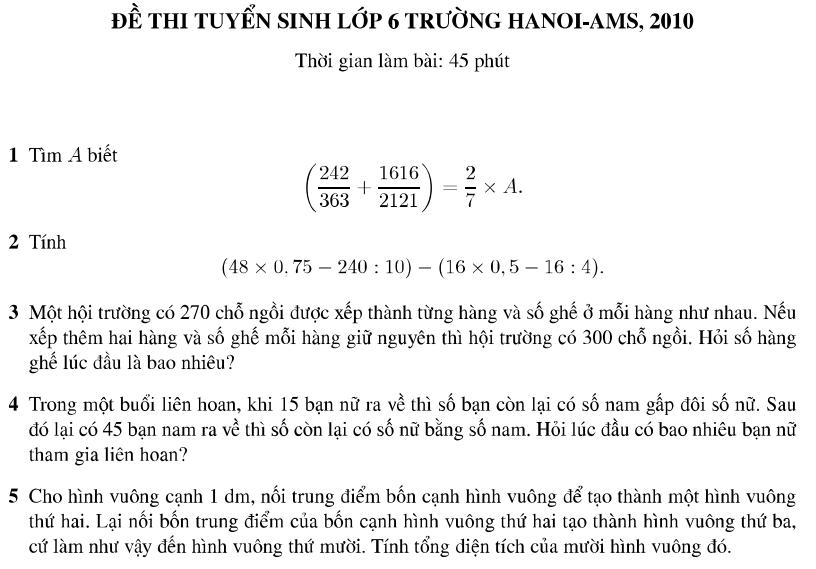 Đáp án đề thi môn toán vào lớp 6 trường Amsterdam 2010 - 2011