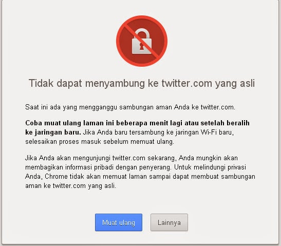 Kesalahan SSL di Google Chrome