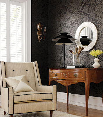 Different+wall+finishes+for+the+interior+design+of+your+bedroom++House-Wallpaper-Designs-Black-Thibaut-Image