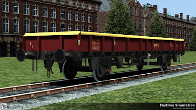 Fastline Simulation - ZCA Sea Urchin ex VDA [EWS]: A freshly repainted ZCA Sea Urchin in EWS livery. This wagon started out as a VDA van built as a part of lot 3855 which can be seen by the shorter brake handle. At the time of conversion to an open box wagon it gained a body with flush end braces.