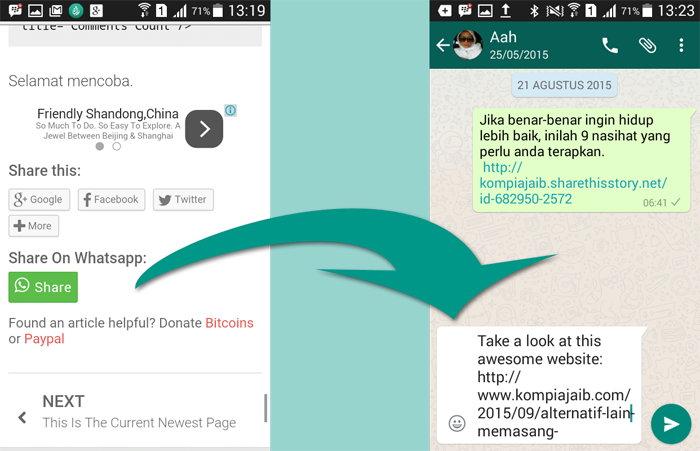 Whatsapp Sharing Button Di Blog