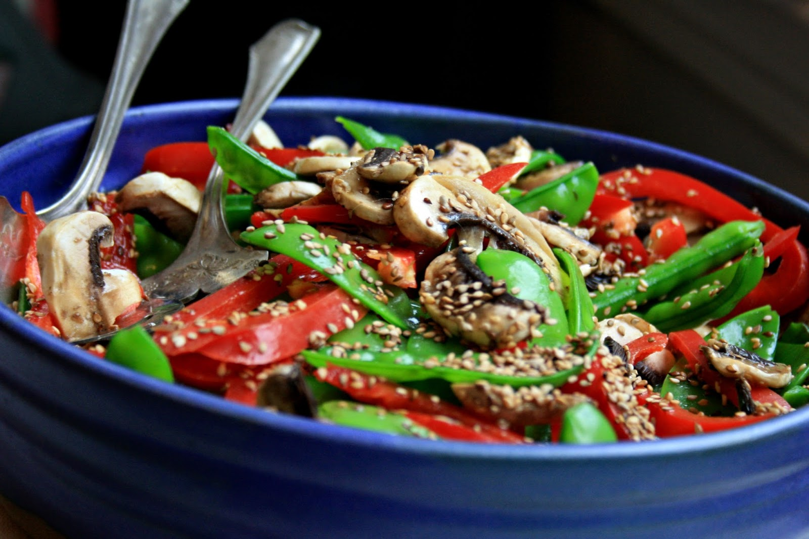 Snow pea and red pepper salad adds crunch and colour to your buffet ...