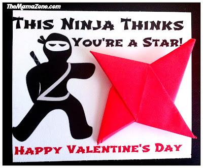 TheMamaZone.com: Origami Ninja Star Valentine's Day Printable - This Ninja thinks you're a star.