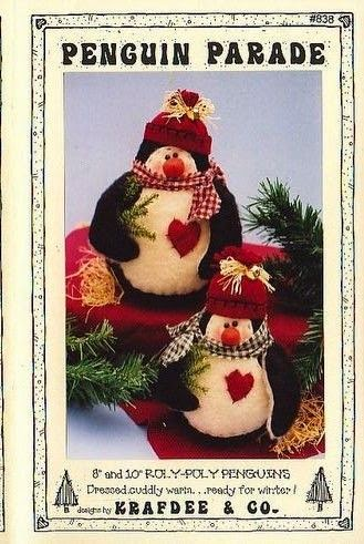 Moldes pinguim natalino de tecido