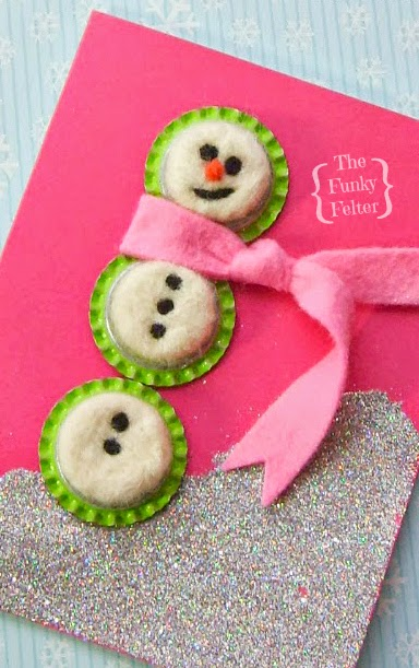 easy needle felt snowman card with bottle caps by the funky felter