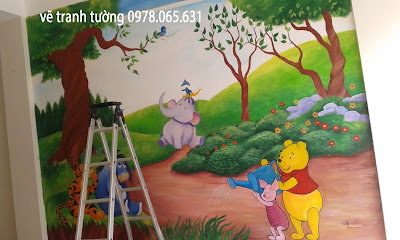 vẽ tranh tường cho bé,vẽ tranh tường