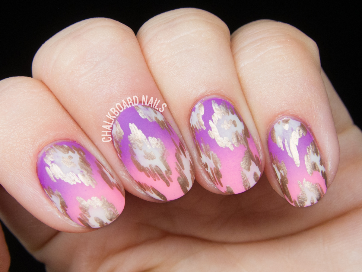 Rose Gold Ikat Patterned Nails