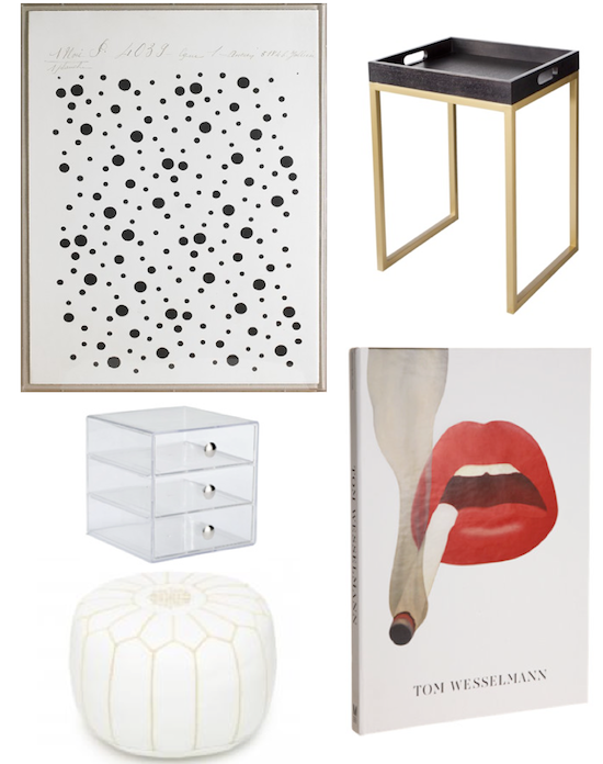 dwell home art, poufs, vanity organization, tom wesselmann art lips, target tables, threshold
