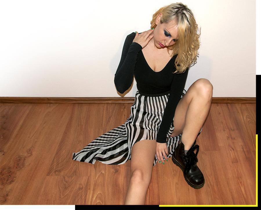 For Peet's Sake blog striped skirt black top Docs boots