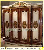 Lemari Pakaian Ukiran Rahwana 4 Pintu ( Bevel ) cat duco marmer dan warna