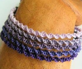 Purple ombre shaded micro macrame