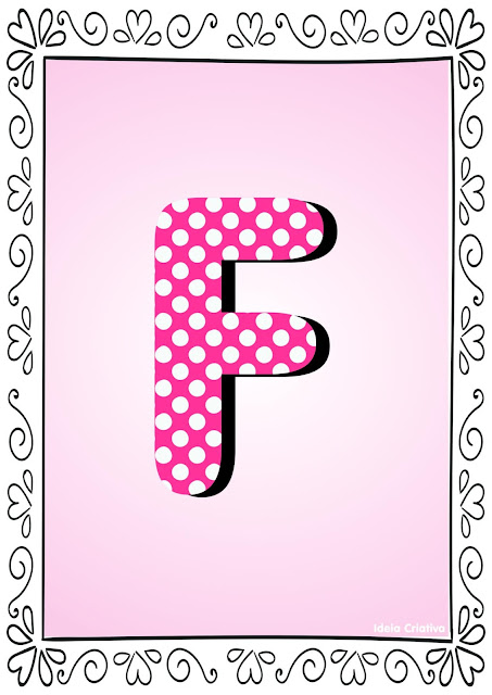Alfabeto Poá Colorido com Borda Letra F