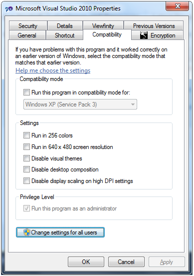 Running application as ADMIN showing compatibility tab