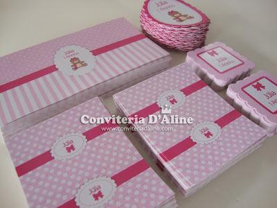 papelaria personalizada ursinha rosa