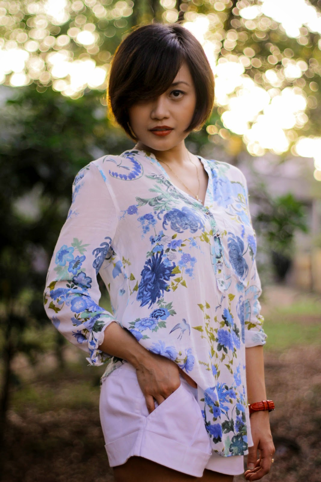 summer haircut, hairstyle, floral, zara blouse