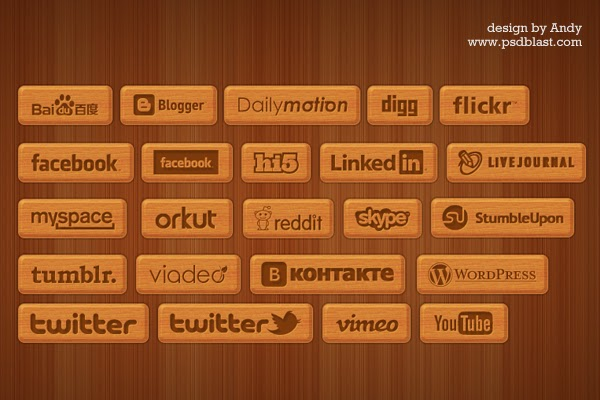 23 Wooden Style Social Icons PSD