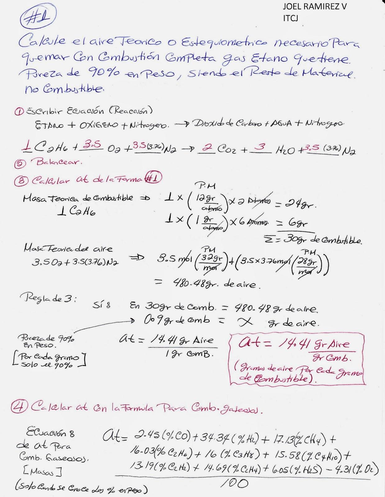Ejemplo de calculo de aire teórico en una reaccion de combustible ...