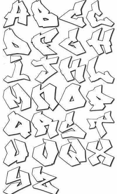 Label graffiti alphabet